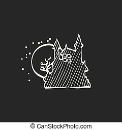 Sketch icon in black - Dark castle