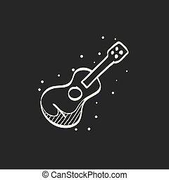 Sketch icon in black - Guitar