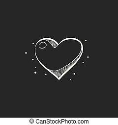 Sketch icon in black - Heart shape