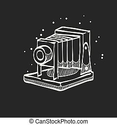 Sketch icon in black - Large format camera