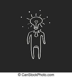 Sketch icon in black - Lightbulb head