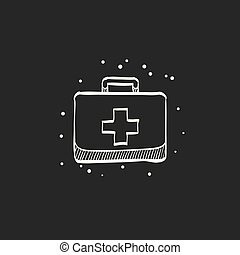 Medical case icon in doodle sketch lines. Health care equipment storage