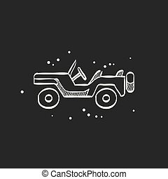 Sketch icon in black - Military vehicle