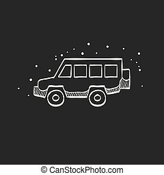 Sketch icon in black - Offroad car - Offroad car icon in...