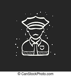 Sketch icon in black - Police avatar