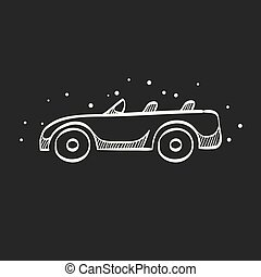 Sketch icon in black - Sport car convertible