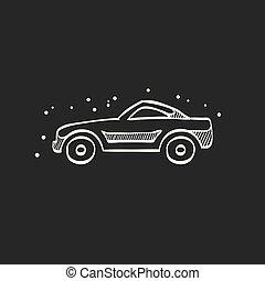 Sketch icon in black - Sport car