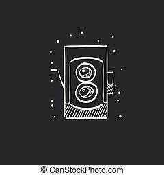 Sketch icon in black - TLR camera - Twin lens reflex camera ...