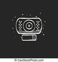 Sketch icon in black - Wecam - Webcam icon in doodle sketch...
