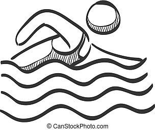 Sketch icon - Man swimming