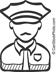 Sketch icon - Police avatar