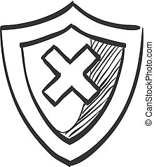 secure shield sketch doodle style secure shield on 1960s or 1970s 50s Aqua Background sketch icon shield