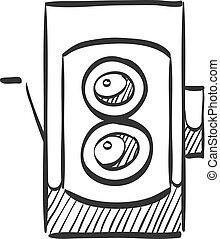 Sketch icon - TLR camera - Twin lens reflex camera icon in ...