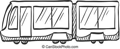Sketch icon - Tram - Tram icon in doodle sketch lines....