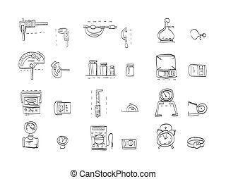 Sketch icons vector collection for metrology - Hand drawn...