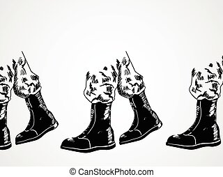 Invasion - Sketch illustration of army boots lined up,...