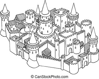 Sketch illustration of old city isolated on white. Vector hand drawn art