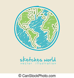 sketch illustration of planet earth - sketch illustration of...