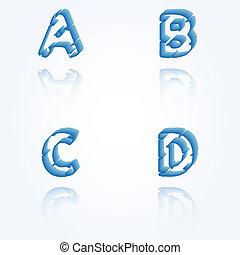 sketch jagged alphabet letters, A, B, C, D