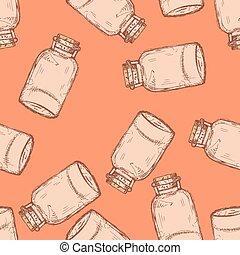 Sketch jar with cork in vintage style