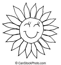 sketch., jeune, illustration, main, arrière-plan., vecteur, sun., noir, blanc, dessin, sourire, contour