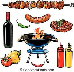 sketch kebab meat sausage steak with sauce - Set barbecue,...