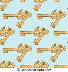 Sketch keys in vintage style