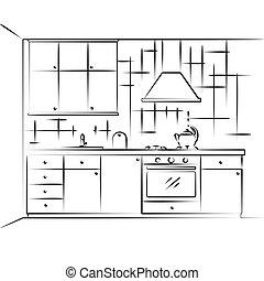 Sketch kitchen furniture. Plan kitchen. Vector illustration