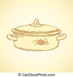Sketch kitchen pan in vintage style
