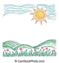 sketch landscape with sun, vector