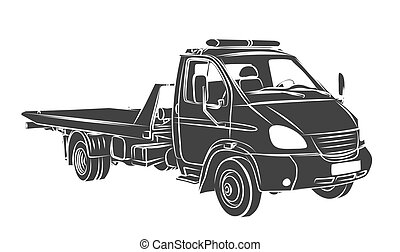 Sketch large tow truck. - Sketch of a big city tow truck.