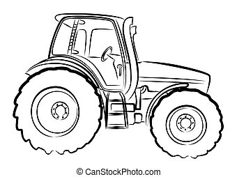 Sketch large tractor. - Sketch a large heavy tractor.