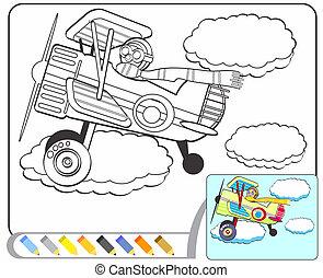sketch:, libro colorante, aviatore