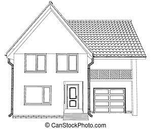 Sketch line at home. Vector illustration