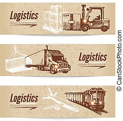 Sketch logistics and delivery banner set. Cardboard...