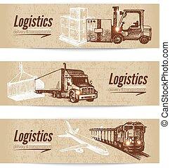 Sketch logistics and delivery banner set. Cardboard backgrounds. Hand drawn vector illustration