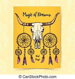 Sketch longhorn and dream catcher in vintage style, vector...
