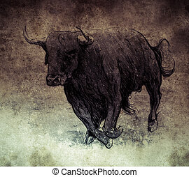 Sketch made with digital tablet, bull running on vintage...