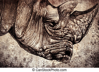 Sketch made with digital tablet of rhino head