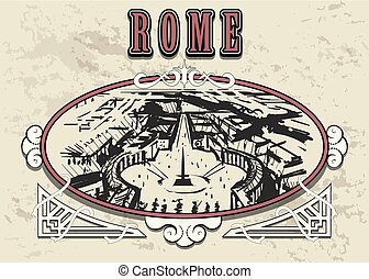sketch., main, horizon, rome, vatican, dessiné, frame.
