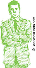 Sketch Man Businessman In Suit - Vector Sketch, comics style...