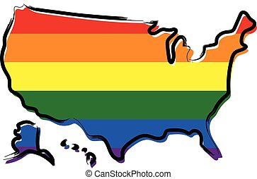 Sketch map of USA with pride colors