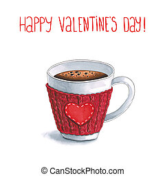 Sketch markers a Cup of hot coffee and greetings with Valentine's day on white background. Sketch done in alcohol markers