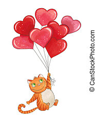 Sketch markers cat with balloons for Valentine's day. Sketch done in alcohol markers