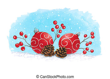 Sketch markers Christmas decoration with fir cones. Sketch done in alcohol markers