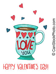 Sketch markers coffee Cup with hearts on a white background. Sketch done in alcohol markers
