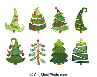 Sketch markers collection of Christmas trees on a white background. Sketch done in alcohol markers