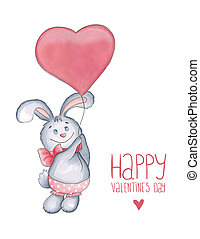 Sketch markers rabbit with balloon-heart on a white background. Sketch done in alcohol markers