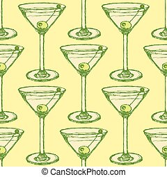 Sketch martini glass with olive in vintage style