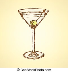 Sketch martini glass with olive